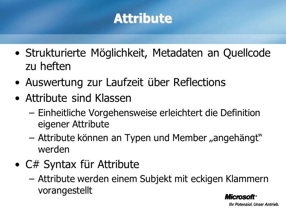Attribute Strukturierte Möglichkeit, Metadaten an Quellcode zu heften