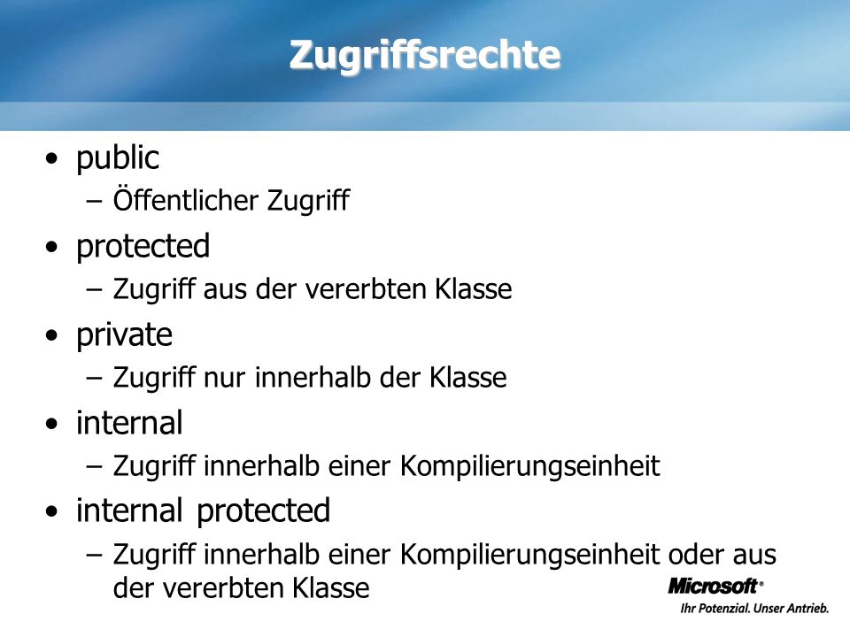 Zugriffsrechte public protected private internal internal protected