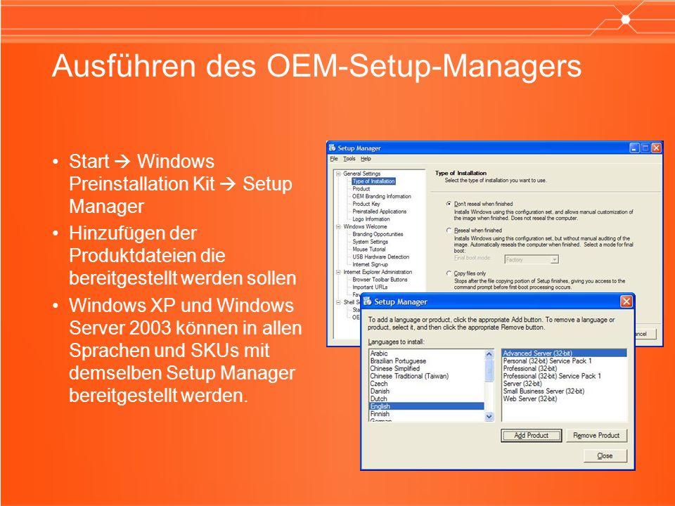 Ausführen des OEM-Setup-Managers