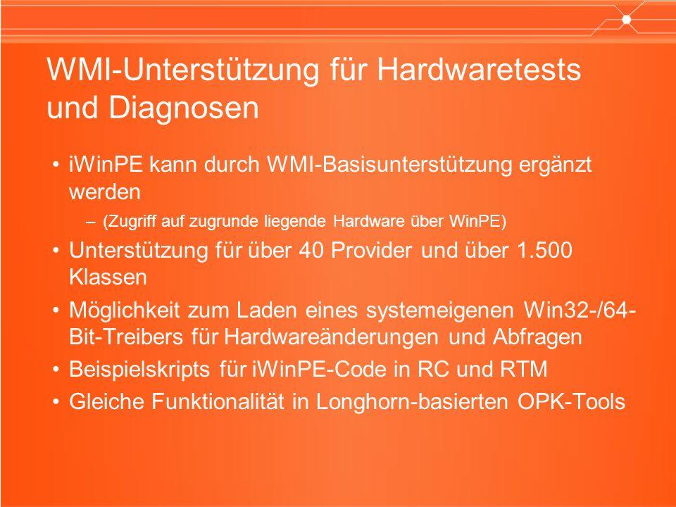 WMI-Unterstützung für Hardwaretests und Diagnosen