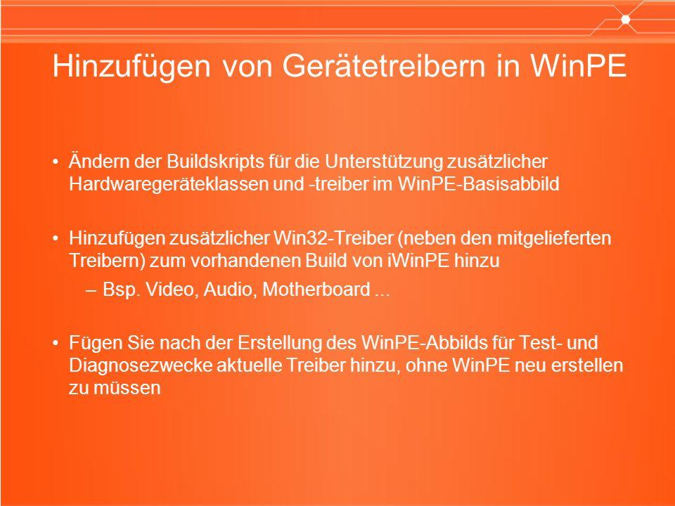 Hinzufügen von Gerätetreibern in WinPE