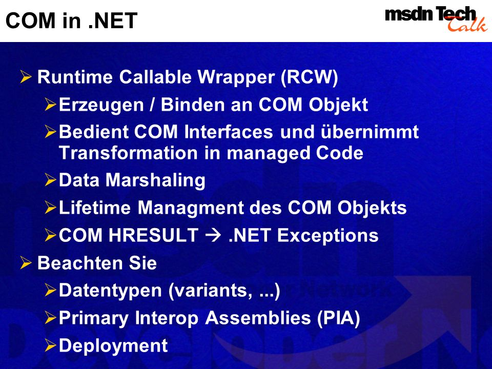 COM in .NET Runtime Callable Wrapper (RCW)