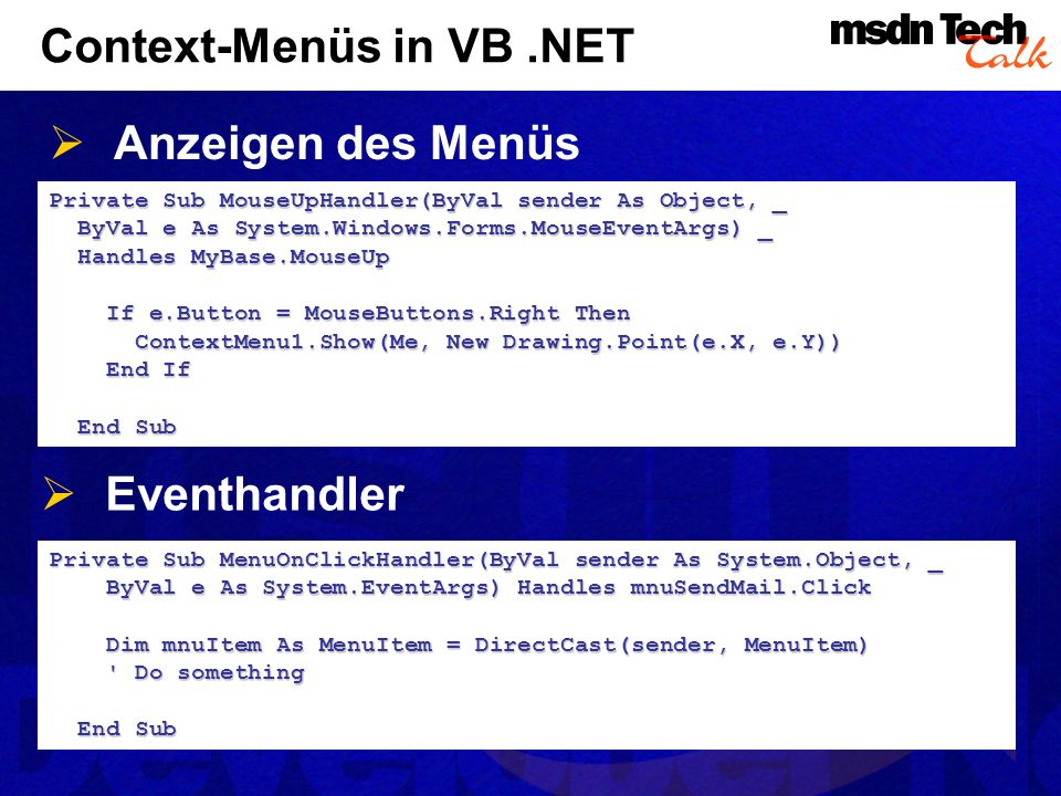 Context-Menüs in VB .NET