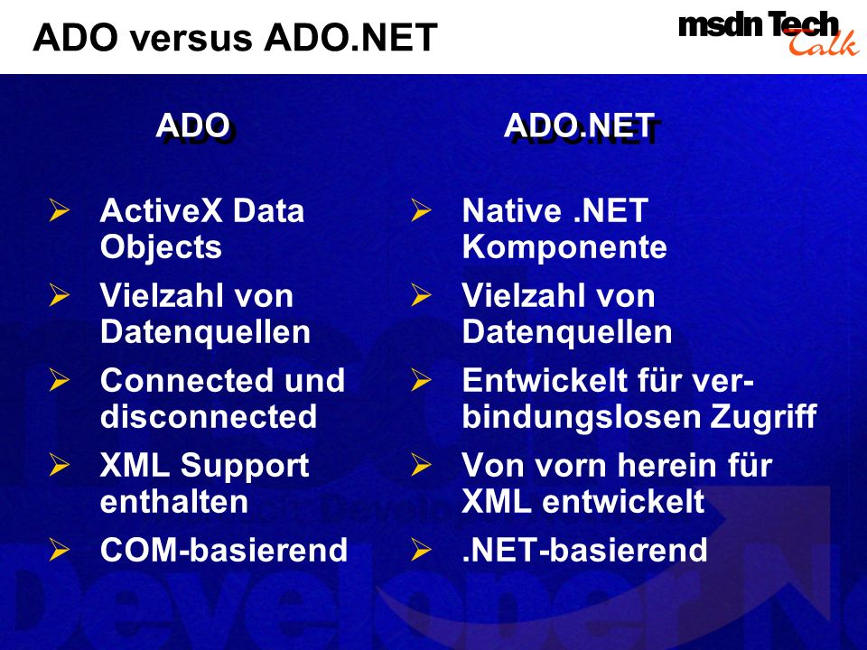 ADO versus ADO.NET ADO ADO.NET ActiveX Data Objects