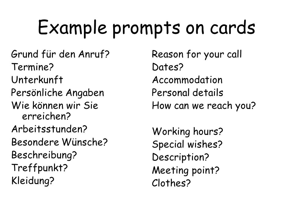 Example prompts on cards
