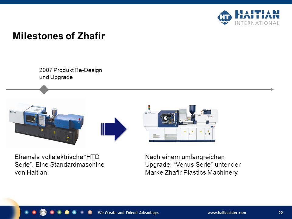 Milestones of Zhafir Ehemals vollelektrische HTD Serie . Eine Standardmaschine von Haitian. 2007 Produkt Re-Design und Upgrade.