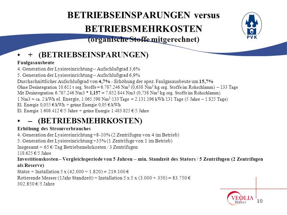 BETRIEBSEINSPARUNGEN versus BETRIEBSMEHRKOSTEN (organische Stoffe mitgerechnet)