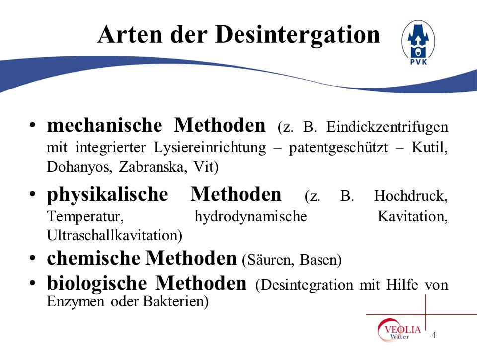 Arten der Desintergation