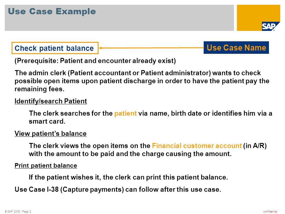 Use Case Example Use Case Name Check patient balance