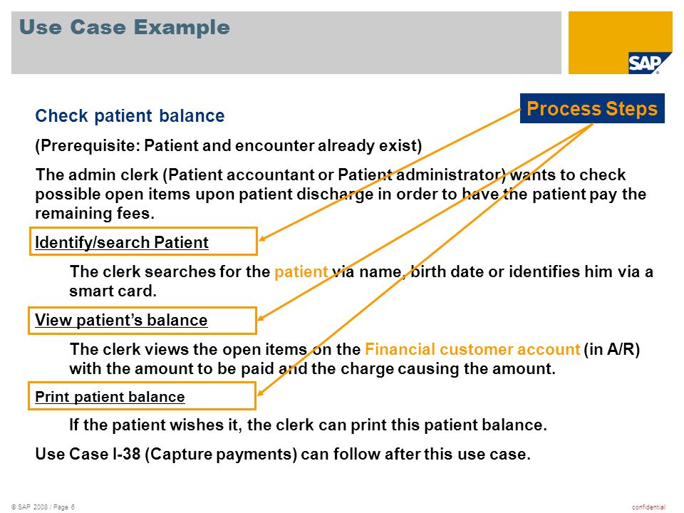 Use Case Example Process Steps Check patient balance