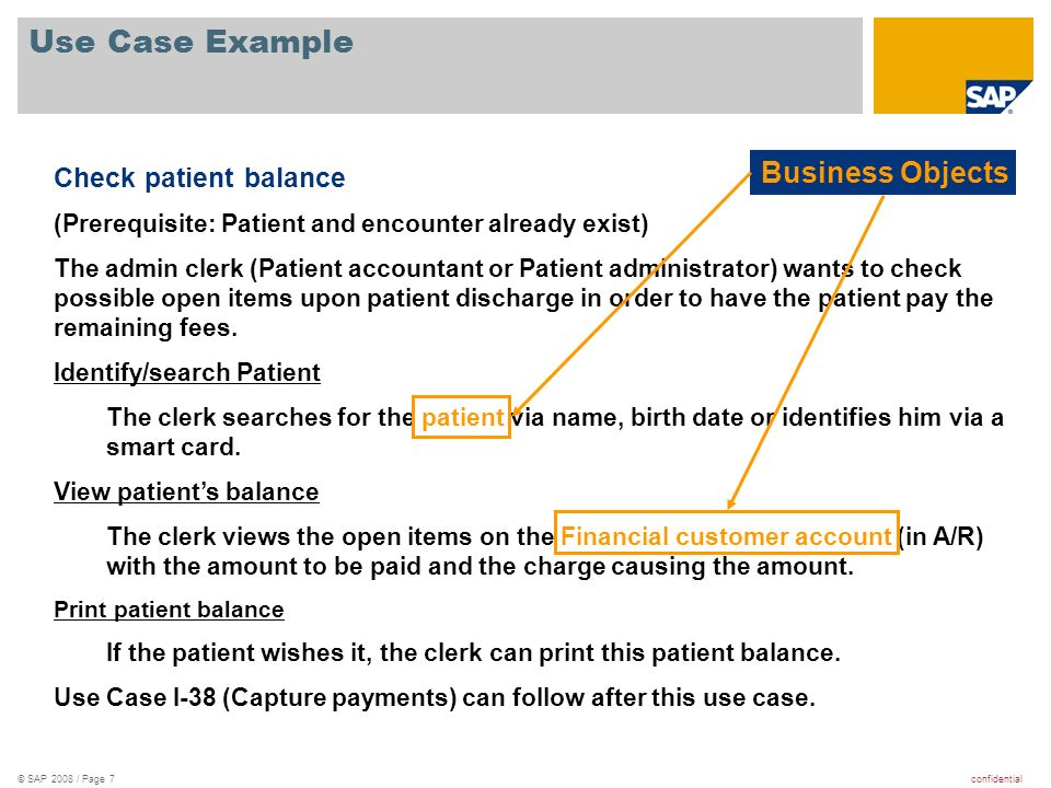 Use Case Example Business Objects Check patient balance