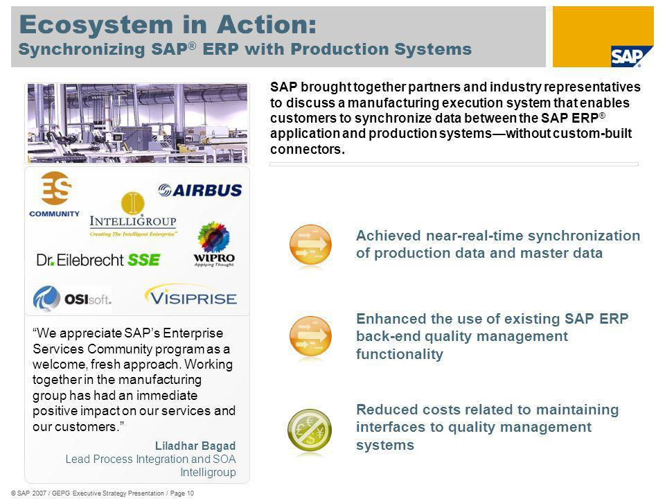 Synchronizing SAP® ERP with Production Systems