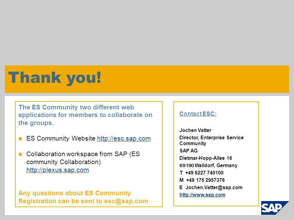 Thank you! The ES Community two different web