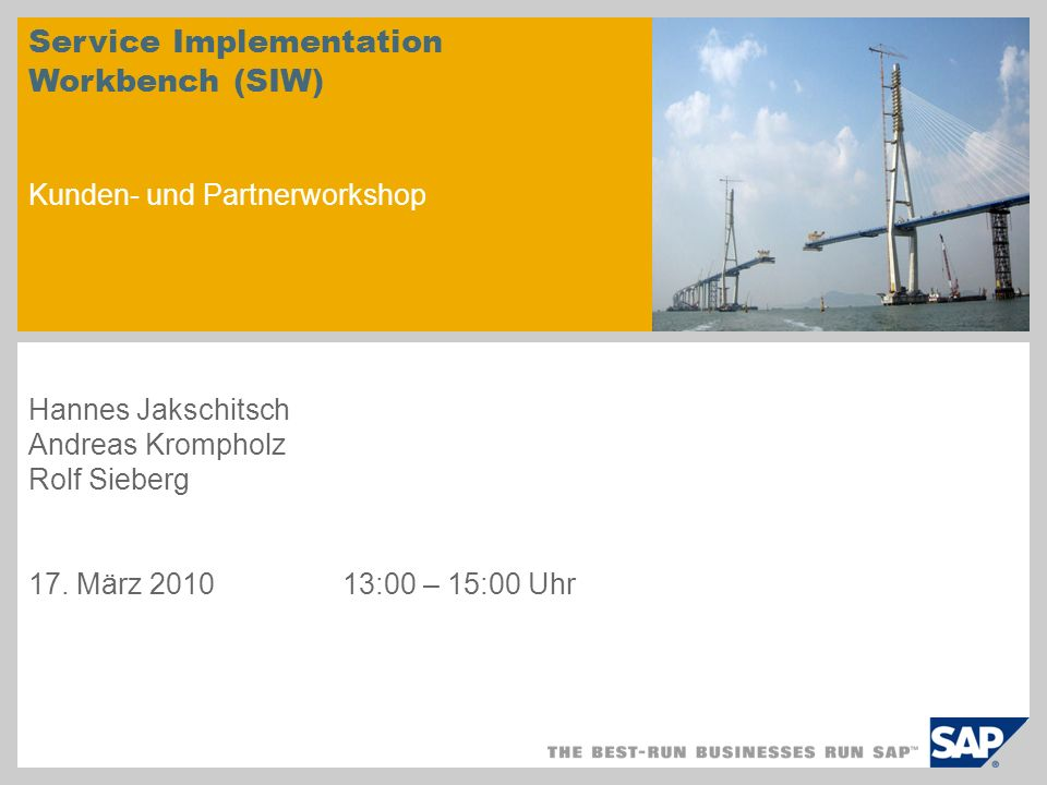 Service Implementation Workbench (SIW) Kunden- und Partnerworkshop