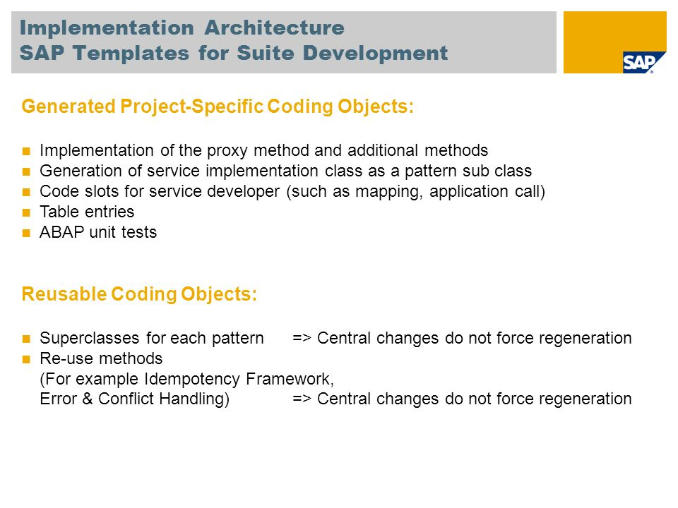 Implementation Architecture SAP Templates for Suite Development