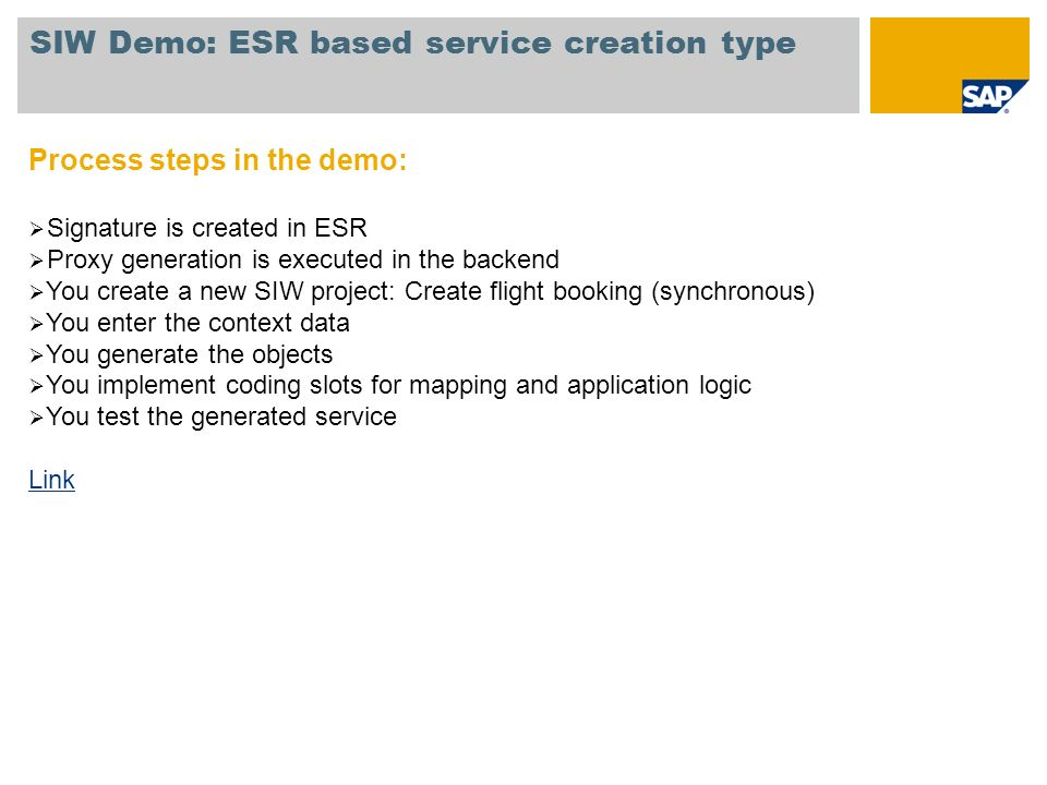SIW Demo: ESR based service creation type