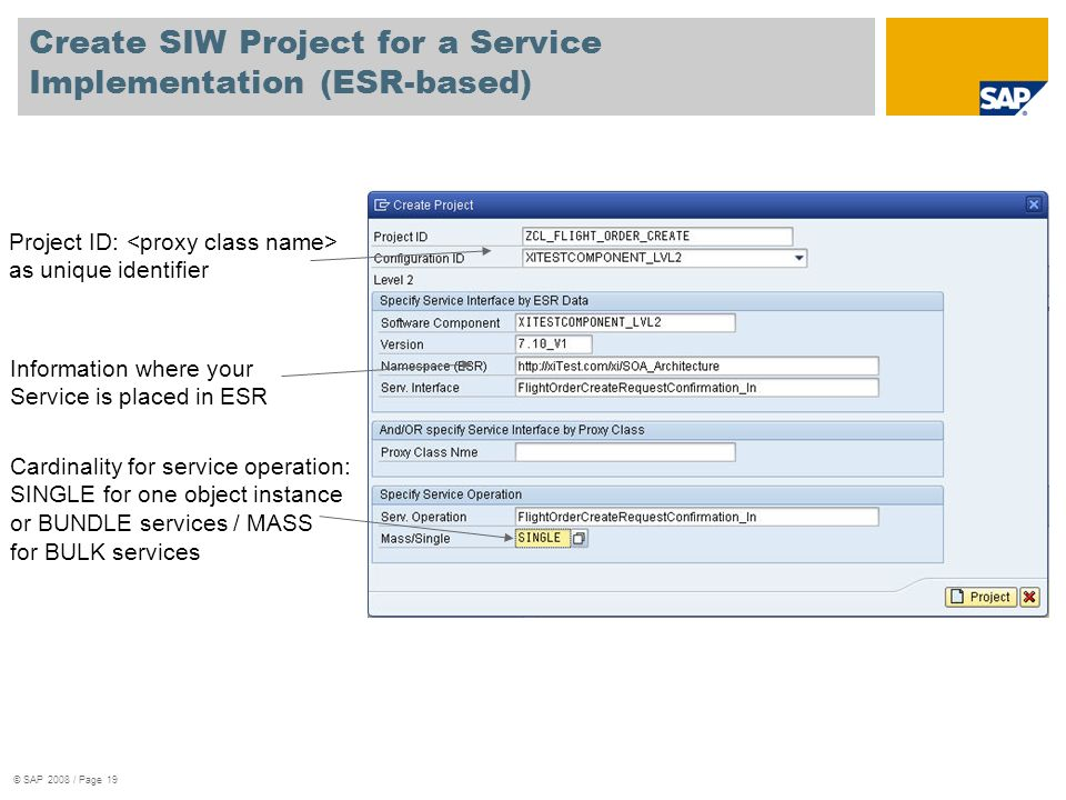 Create SIW Project for a Service Implementation (ESR-based)