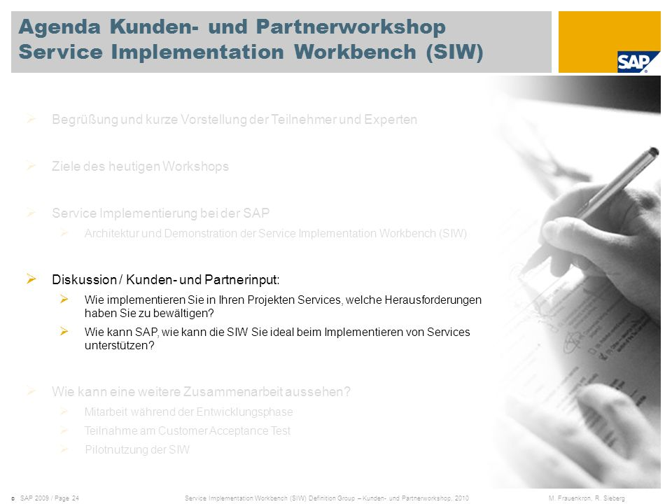 Agenda Kunden- und Partnerworkshop Service Implementation Workbench (SIW)