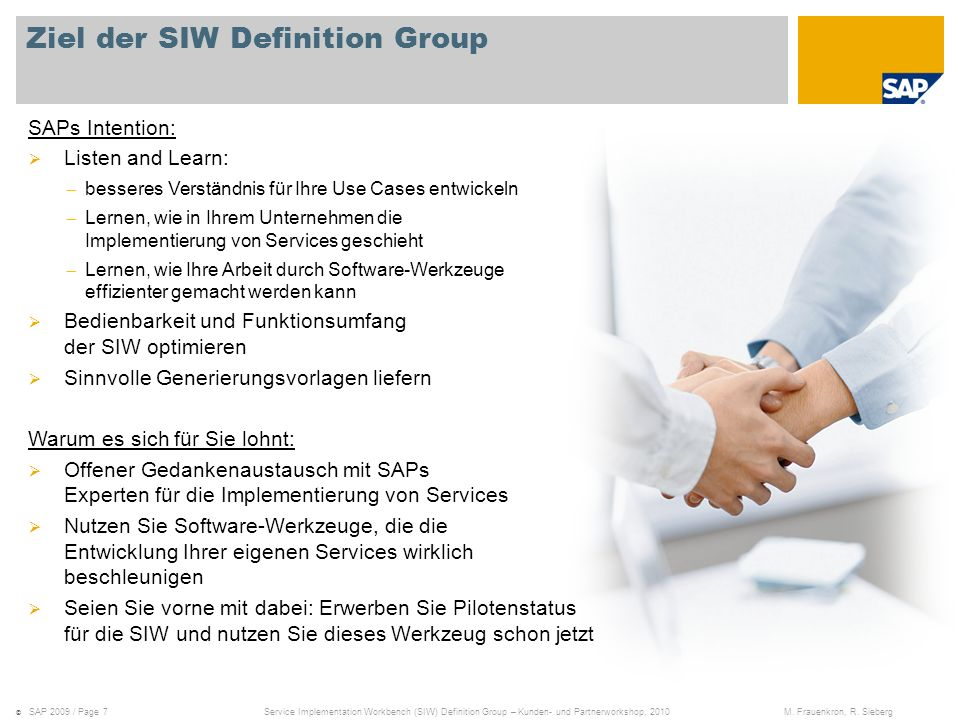 Ziel der SIW Definition Group
