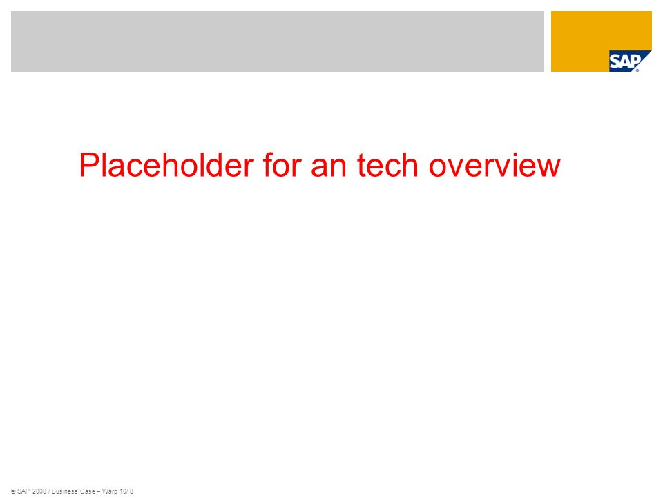 Placeholder for an tech overview