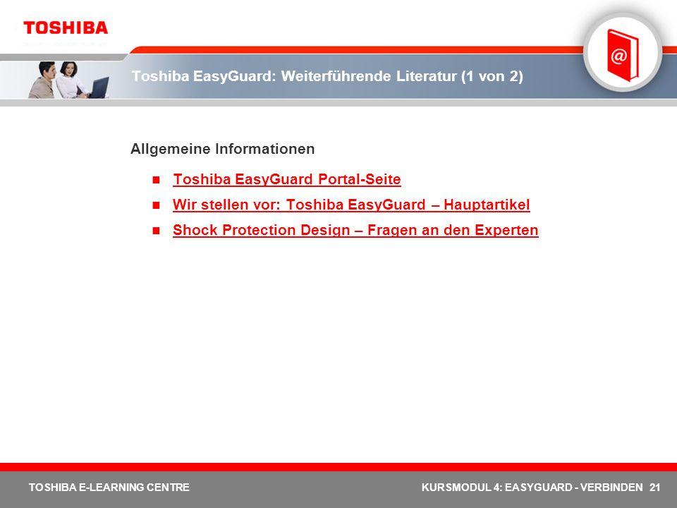 Toshiba EasyGuard: Weiterführende Literatur (1 von 2)