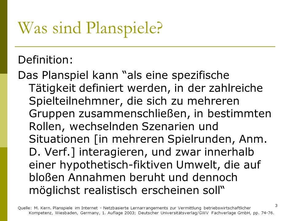 Was sind Planspiele Definition: