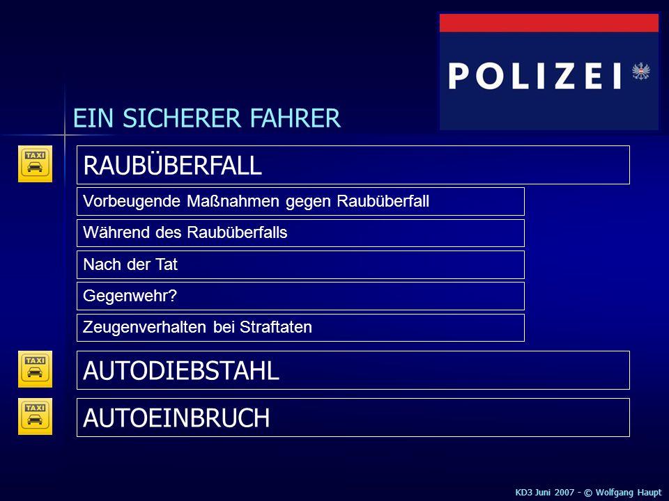 EIN SICHERER FAHRER RAUBÜBERFALL AUTODIEBSTAHL AUTOEINBRUCH