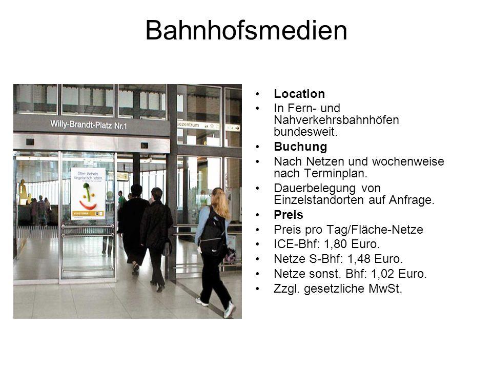 Bahnhofsmedien Location In Fern- und Nahverkehrsbahnhöfen bundesweit.