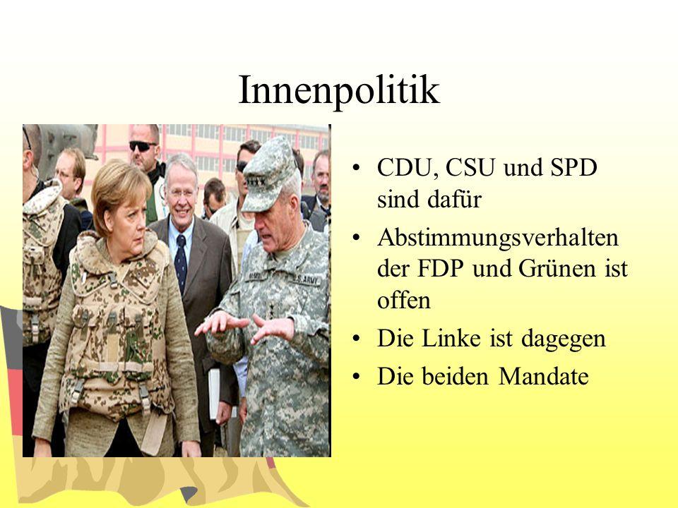 Innenpolitik CDU, CSU und SPD sind dafür