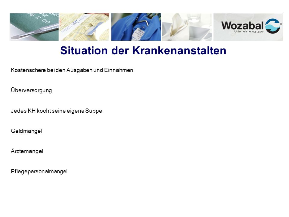 Situation der Krankenanstalten