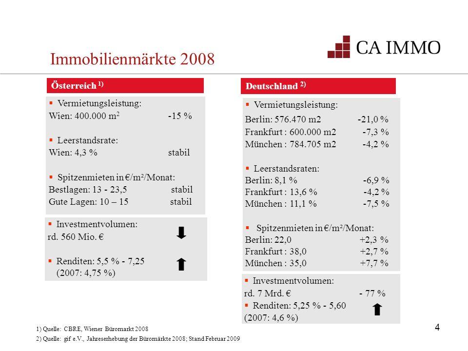 Immobilienmärkte 2008 Österreich 1) Deutschland 2)
