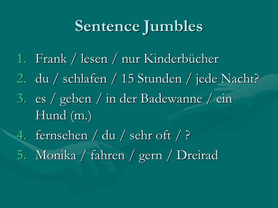 Sentence Jumbles Frank / lesen / nur Kinderbücher
