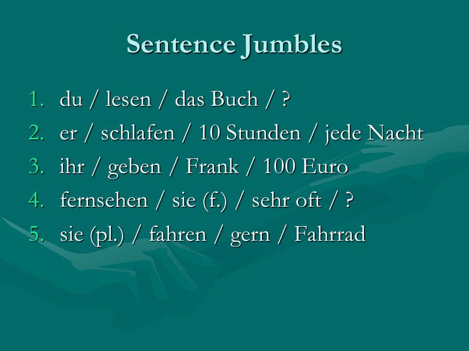 Sentence Jumbles du / lesen / das Buch /
