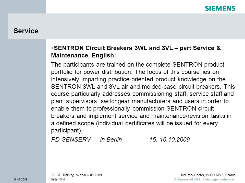 ServiceSENTRON Circuit Breakers 3WL and 3VL – part Service & Maintenance, English: