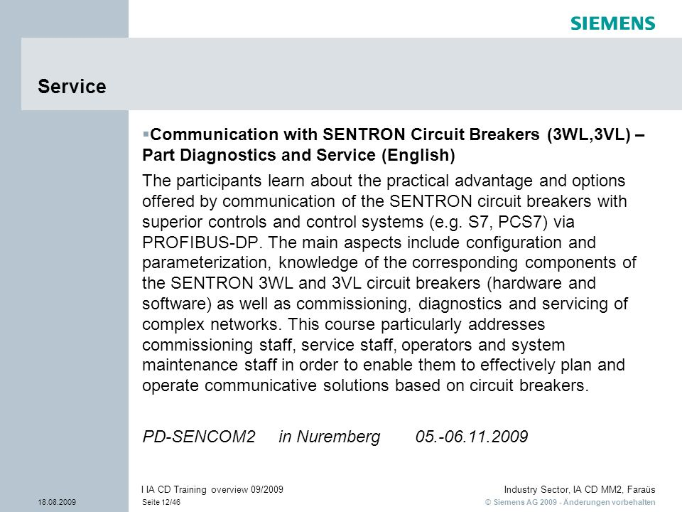 ServiceCommunication with SENTRON Circuit Breakers (3WL,3VL) – Part Diagnostics and Service (English)