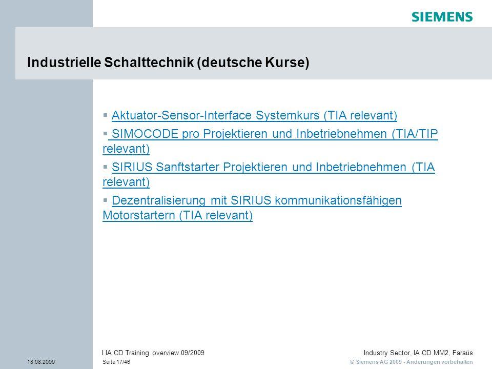 Industrielle Schalttechnik (deutsche Kurse)