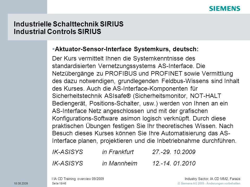 Industrielle Schalttechnik SIRIUS Industrial Controls SIRIUS