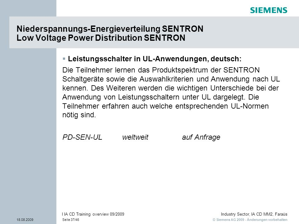Niederspannungs-Energieverteilung SENTRON Low Voltage Power Distribution SENTRON
