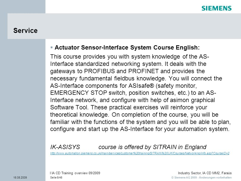 Service Actuator Sensor-Interface System Course English: