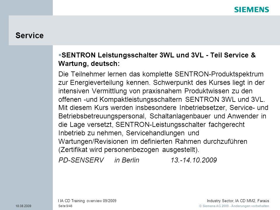 Service SENTRON Leistungsschalter 3WL und 3VL - Teil Service & Wartung, deutsch: