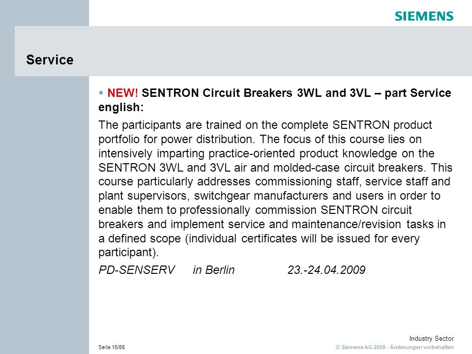 Service NEW! SENTRON Circuit Breakers 3WL and 3VL – part Service english: