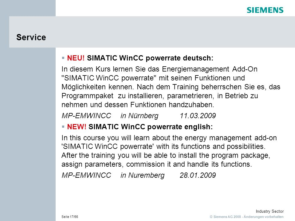 Service NEU! SIMATIC WinCC powerrate deutsch: