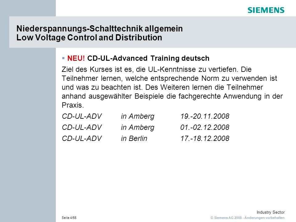 Niederspannungs-Schalttechnik allgemein Low Voltage Control and Distribution
