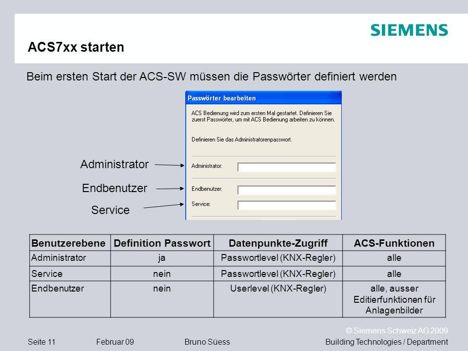 ACS7xx starten Beim ersten Start der ACS-SW müssen die Passwörter definiert werden. Administrator.