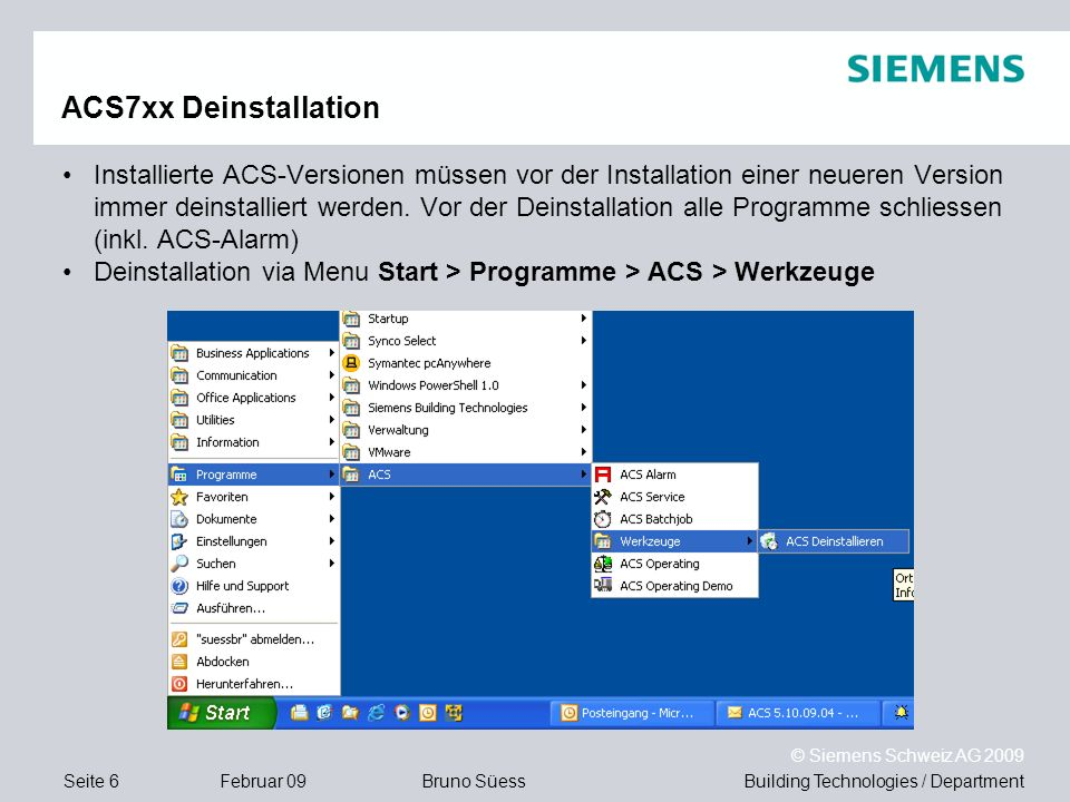 ACS7xx Deinstallation