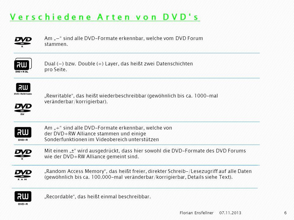 Verschiedene Arten von DVD's