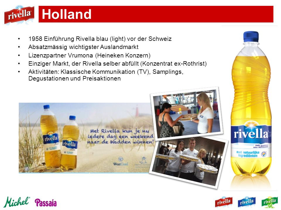 Holland 1958 Einführung Rivella blau (light) vor der Schweiz