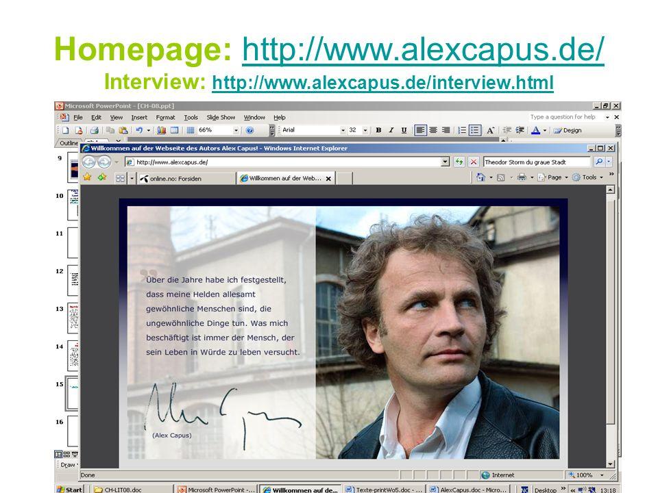 Homepage: http://www. alexcapus. de/ Interview: http://www. alexcapus