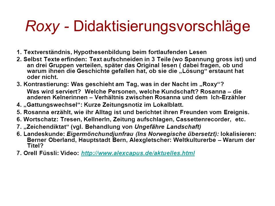 Roxy - Didaktisierungsvorschläge