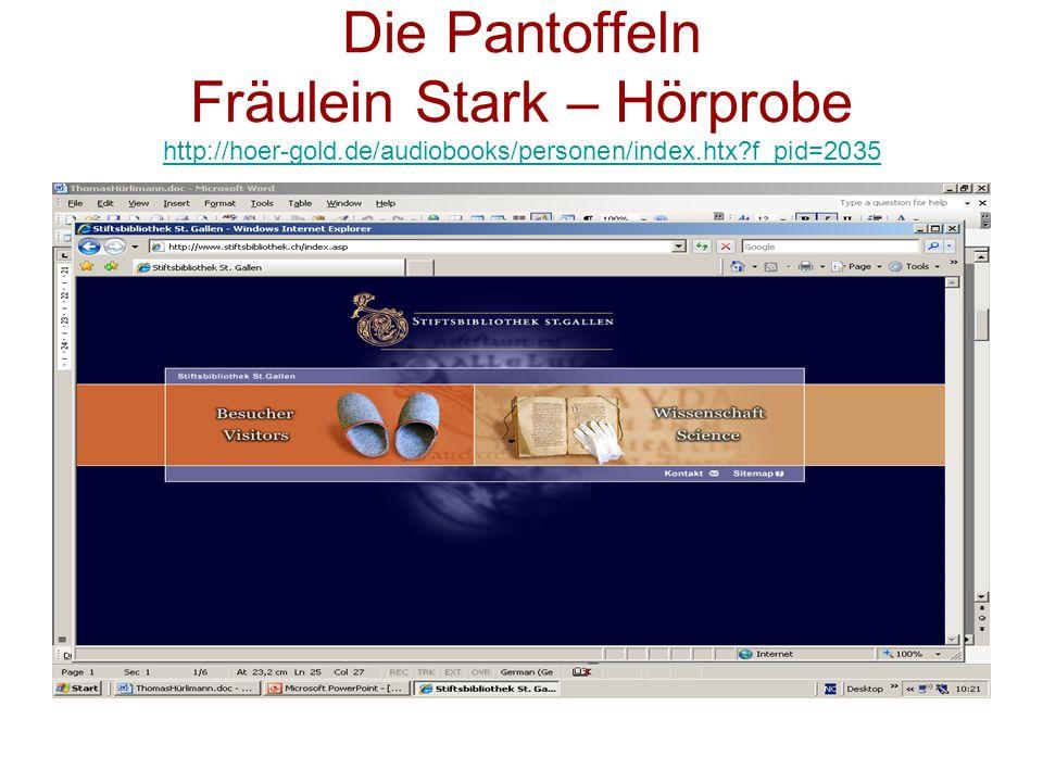 Die Pantoffeln Fräulein Stark – Hörprobe http://hoer-gold